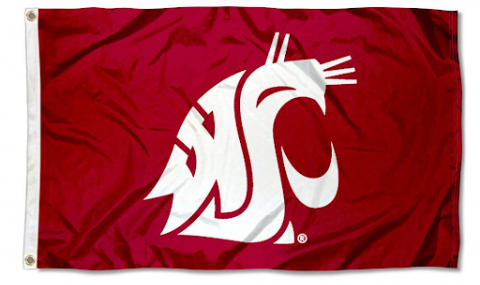 Washington State Cougars Embroidered and Stitched Nylon Flag
