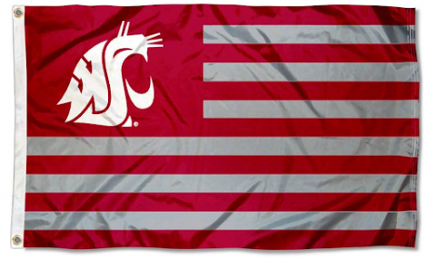 Washington State Cougars Stars and Stripes Flag